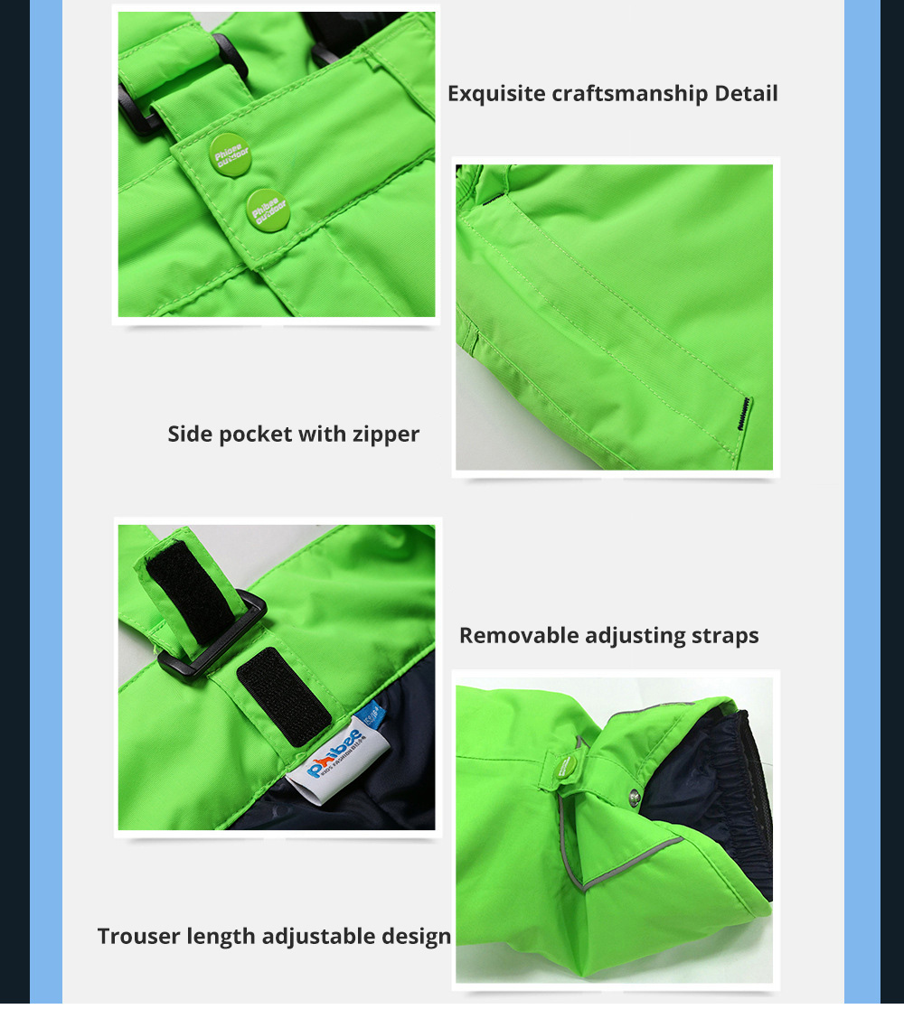 Phibee Children's Ski Suit for Outdoor Activity Thickened Windproof Winter Jacket and Pants Thermal and Antiwear Outdoor Apparel 12