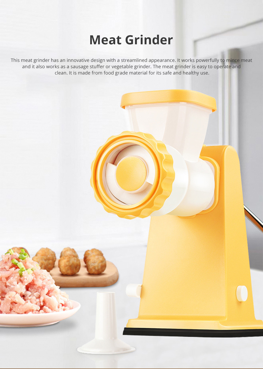 Manual Meat Grinder for Kitchen Use Easy to Operate Mincing Machine Multifunctional Meat Mincer Sausage Stuffer 0