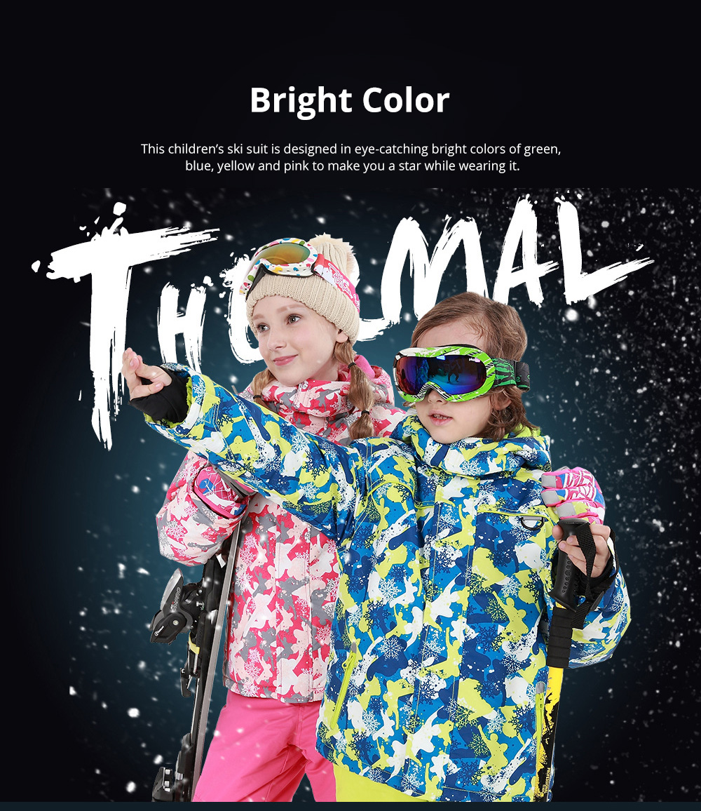 Phibee Children's Ski Suit for Outdoor Activity Thickened Windproof Winter Jacket and Pants Thermal and Antiwear Outdoor Apparel 3
