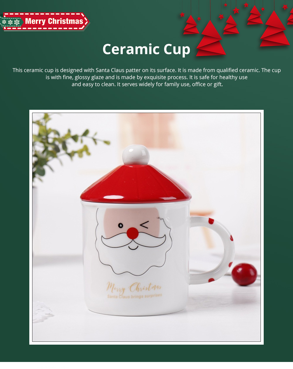 Santa Claus Ceramic Cup for Gifts Family Use Creative Mug with Spoon Easy to Clean and Safe Water Cup Christmas Gift 0