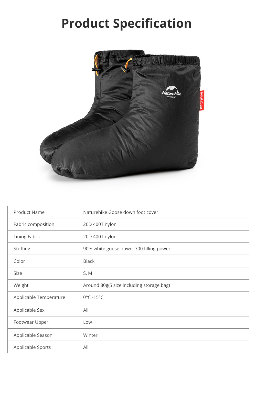 Naturehike Goose Down Foot Shoes Cover for Outdoor Use Wind Proof and Waterproof Foot Cover Thermal Lightweight 7