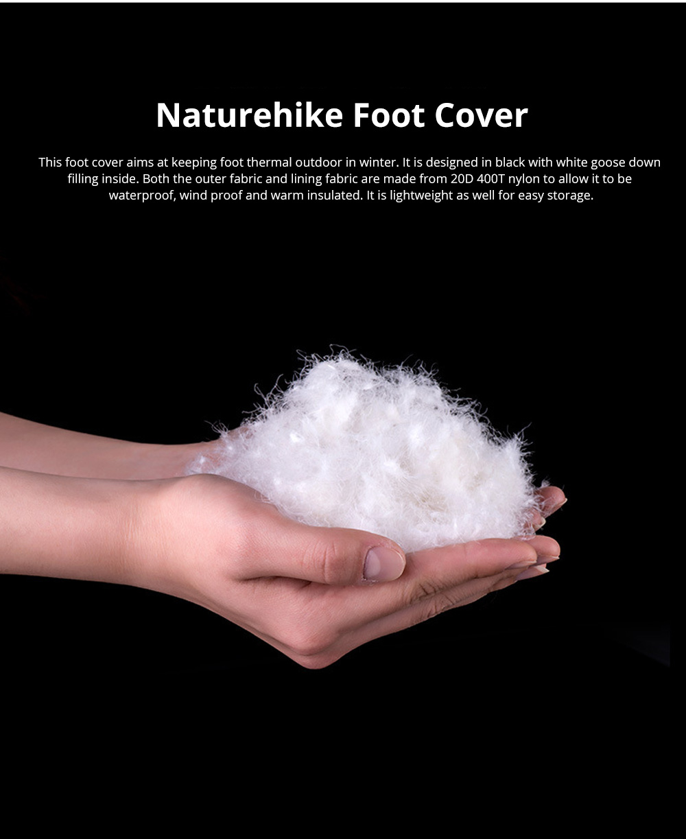 Naturehike Goose Down Foot Shoes Cover for Outdoor Use Wind Proof and Waterproof Foot Cover Thermal Lightweight 1