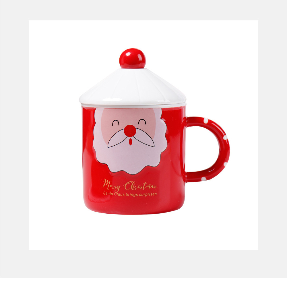 Santa Claus Ceramic Cup for Gifts Family Use Creative Mug with Spoon Easy to Clean and Safe Water Cup Christmas Gift 3