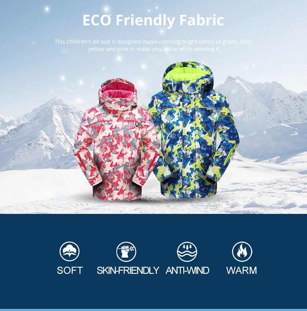 Phibee Children's Ski Suit for Outdoor Activity Thickened Windproof Winter Jacket and Pants Thermal and Antiwear Outdoor Apparel 1
