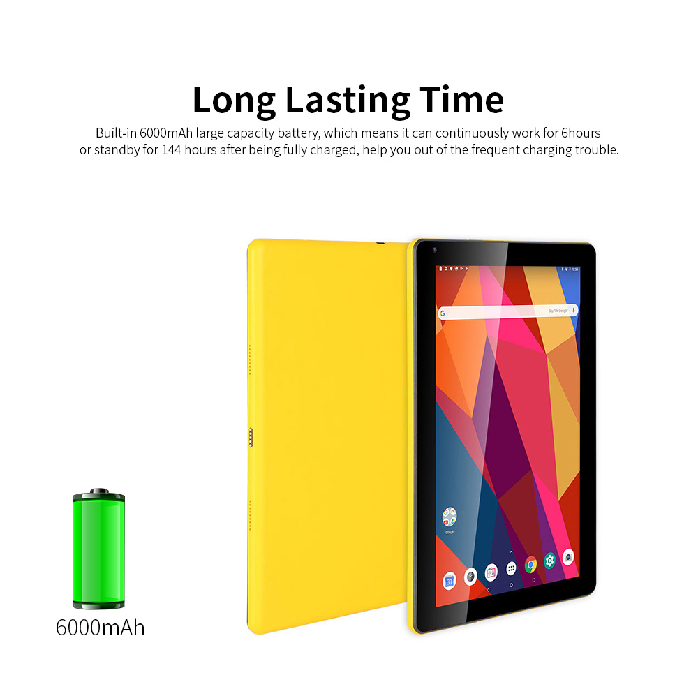 10.1 Inch Tablet PC Android 8.1 Dual Camera and USB 2GB RAM 16GB ROM Touchscreen Wifi Bluetooth Tablet with 6000mAh Battery 4