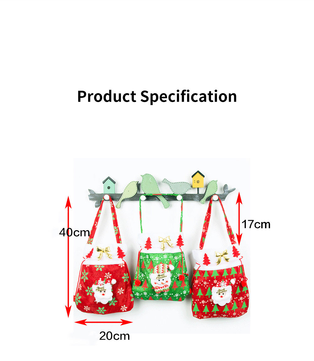 Christmas Gift Santa Claus' Candy Bag for Christmas Day Present Velveteen Handbag with Gold Decoration Three Patterns 10