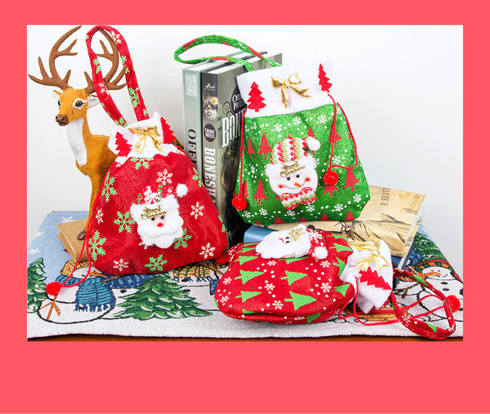 Christmas Gift Santa Claus' Candy Bag for Christmas Day Present Velveteen Handbag with Gold Decoration Three Patterns 1