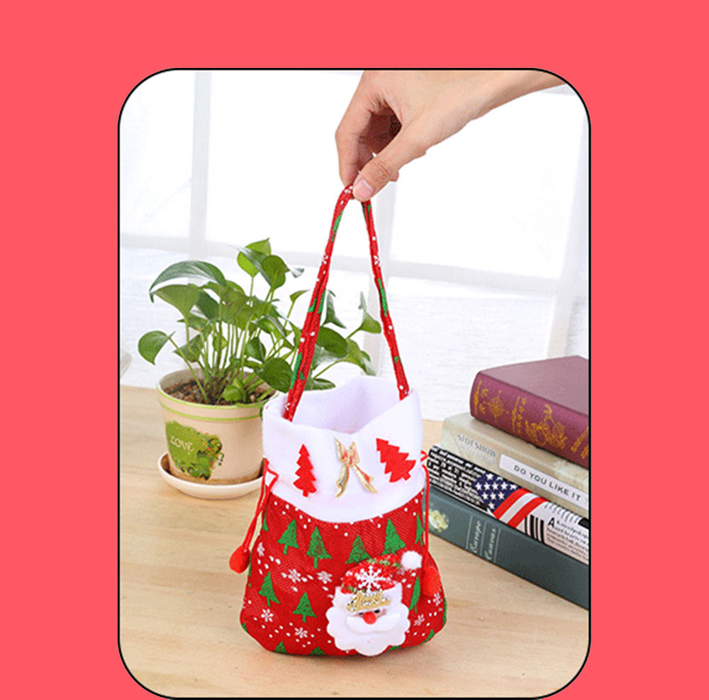 Christmas Gift Santa Claus' Candy Bag for Christmas Day Present Velveteen Handbag with Gold Decoration Three Patterns 7
