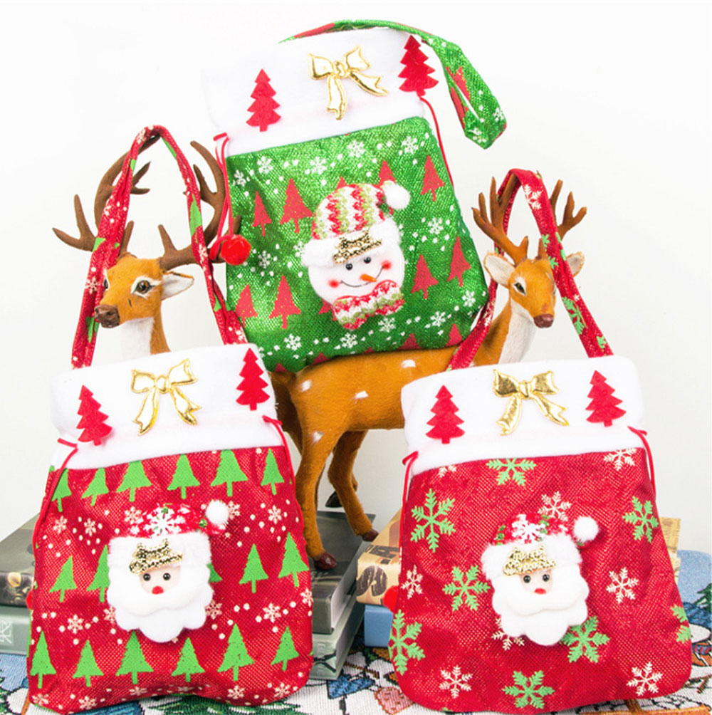Christmas Gift Santa Claus' Candy Bag for Christmas Day Present Velveteen Handbag with Gold Decoration Three Patterns 3