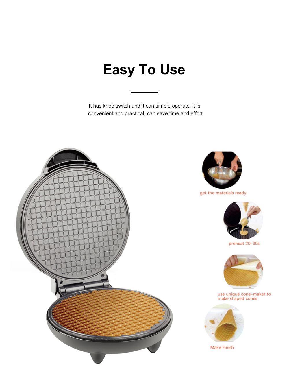 European-style Cone Crispy Egg Roll Machine Multifunctional Professional Round Ice Cream Waffle Cone Maker 1