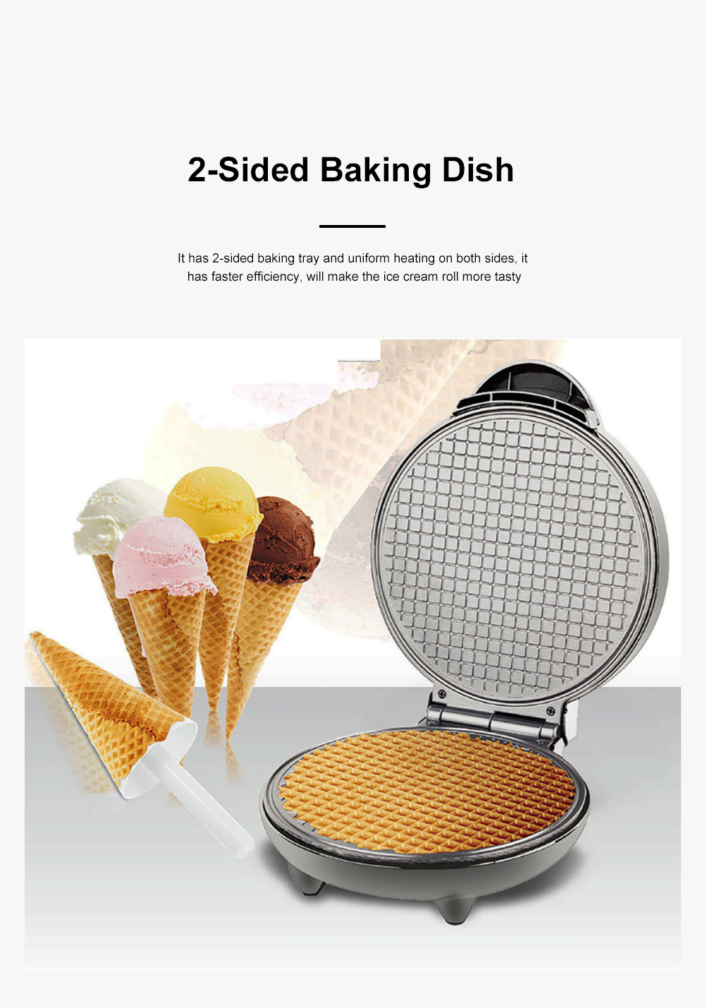 European-style Cone Crispy Egg Roll Machine Multifunctional Professional Round Ice Cream Waffle Cone Maker 2