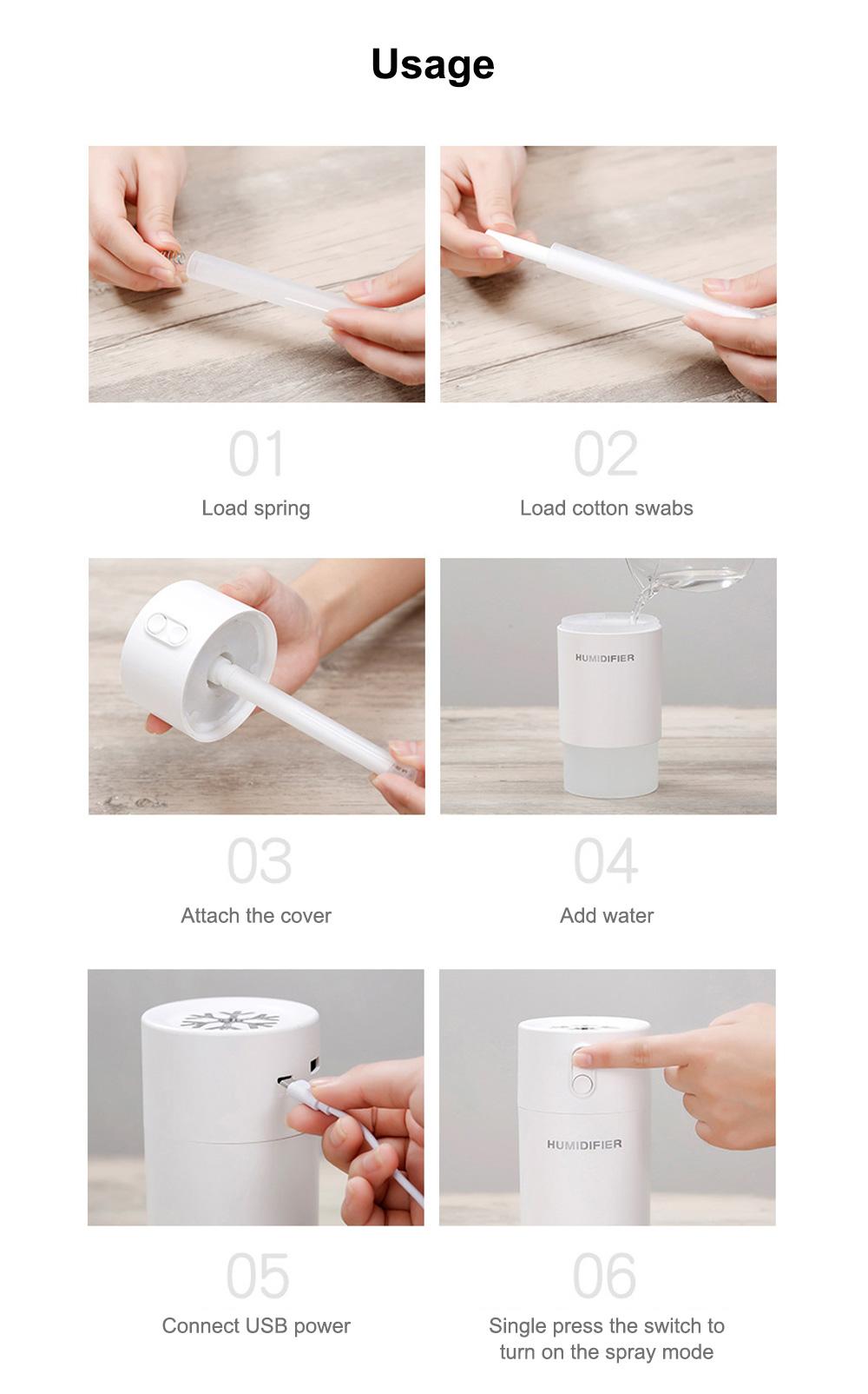 Mini Air Humidifier For Home Office Car LED Night Light Portable Snowflake Purifier Freshener Travel Mist USB Fan Humidifier 9