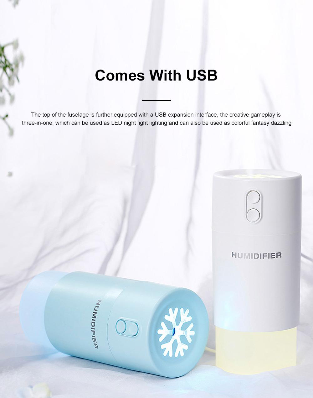 Mini Air Humidifier For Home Office Car LED Night Light Portable Snowflake Purifier Freshener Travel Mist USB Fan Humidifier 6