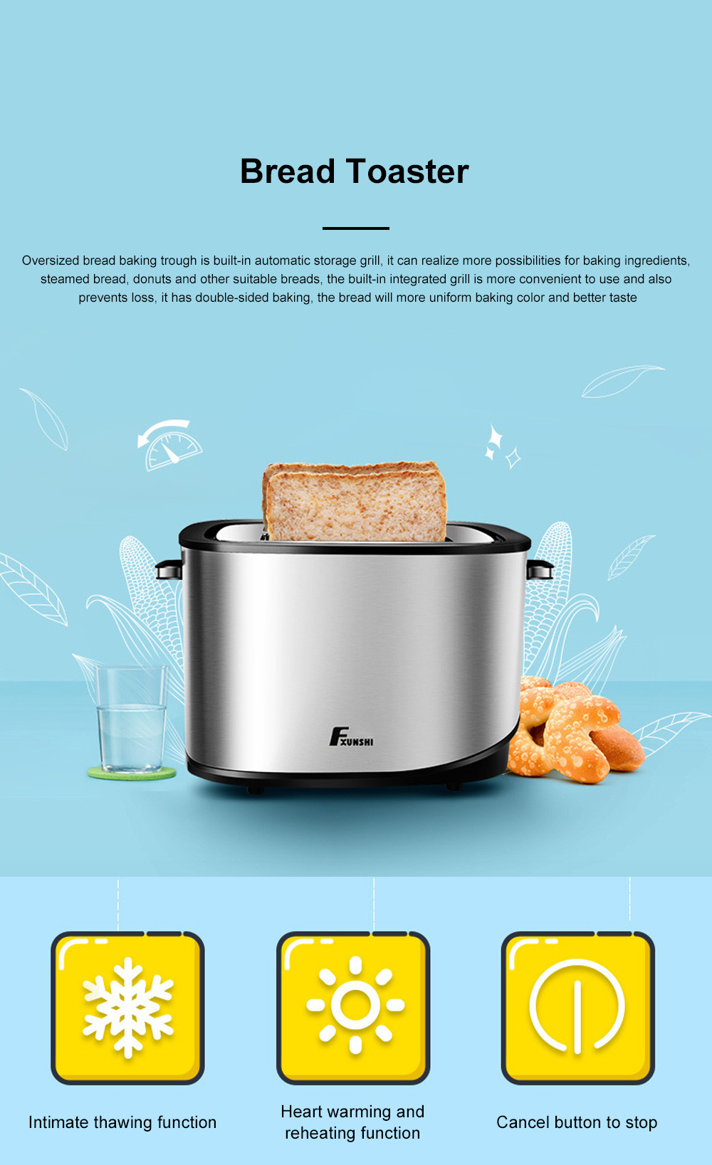 Fxunshi 800W Power Home Appliance Stainless Steel Auto Switch Off 2 Slices 2 Slot Portable Automatic Bread Maker Toaster 0