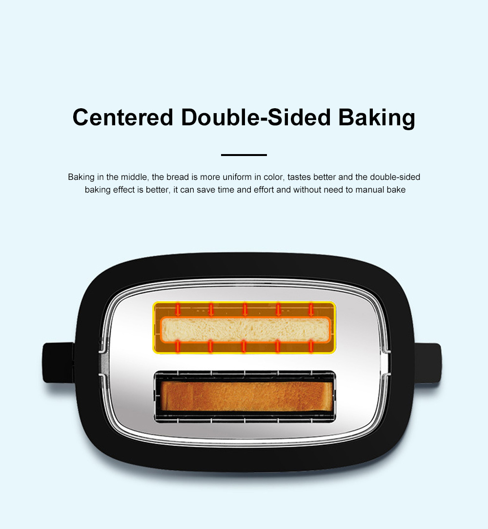 Fxunshi 800W Power Home Appliance Stainless Steel Auto Switch Off 2 Slices 2 Slot Portable Automatic Bread Maker Toaster 4