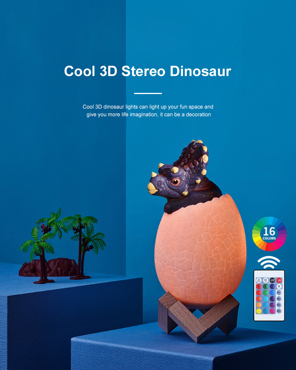 Creative USB Print 3D Dinosaur Night Light Decoration 16 Colors LED Night Lamp With Remote Control Gifts For Kids Children 2