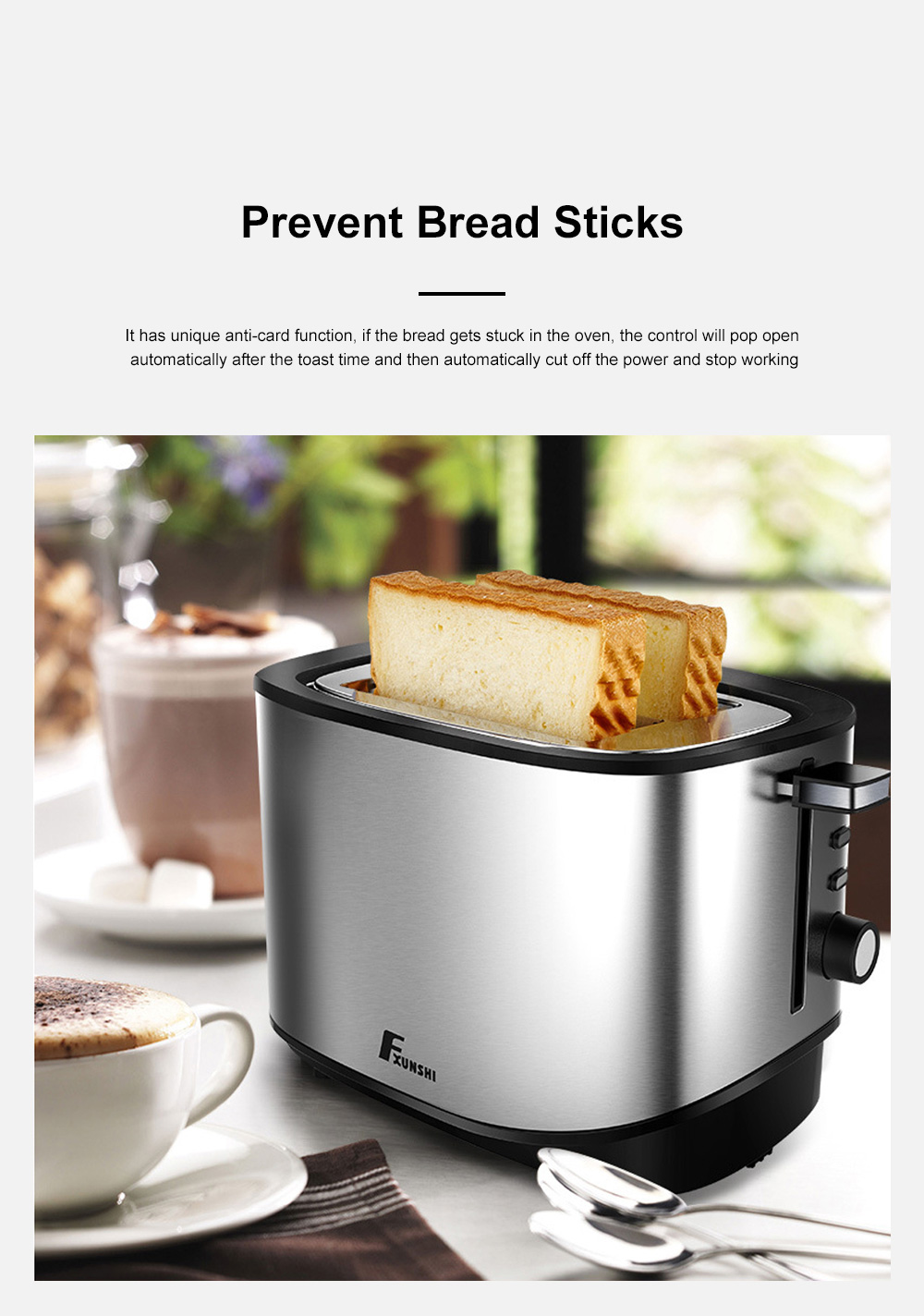 Fxunshi 800W Power Home Appliance Stainless Steel Auto Switch Off 2 Slices 2 Slot Portable Automatic Bread Maker Toaster 8
