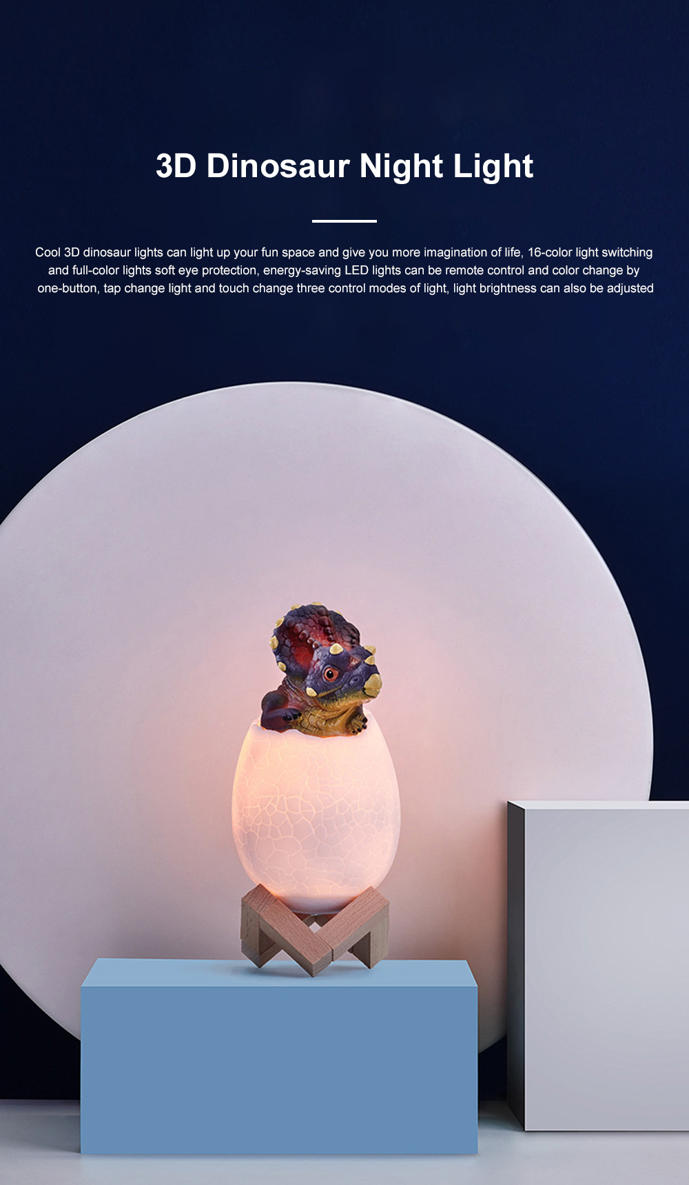 Creative USB Print 3D Dinosaur Night Light Decoration 16 Colors LED Night Lamp With Remote Control Gifts For Kids Children 0