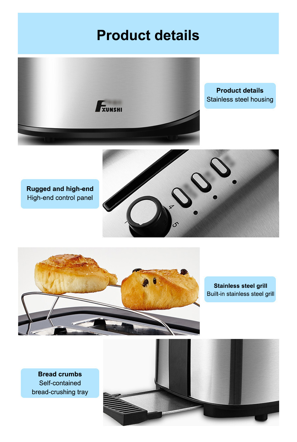 Fxunshi 800W Power Home Appliance Stainless Steel Auto Switch Off 2 Slices 2 Slot Portable Automatic Bread Maker Toaster 11