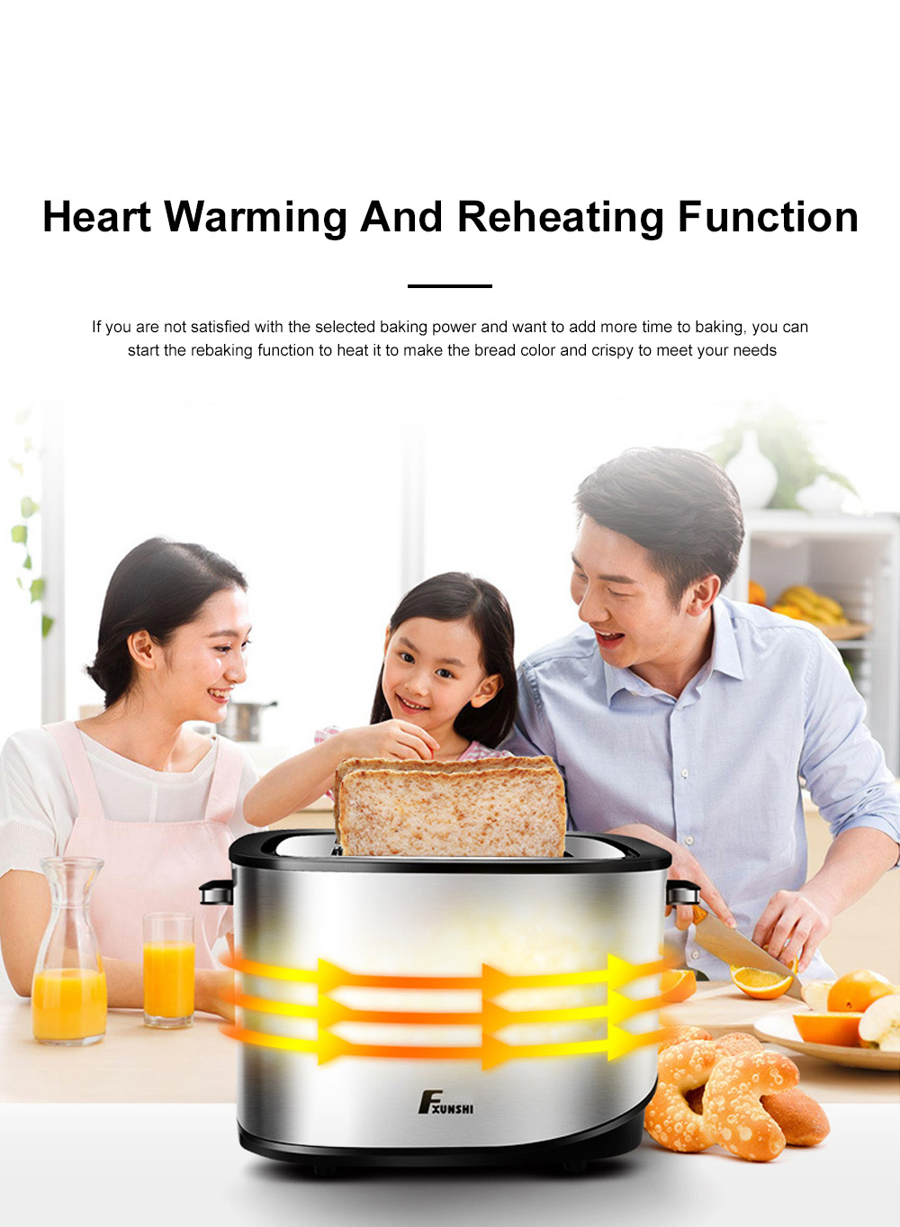 Fxunshi 800W Power Home Appliance Stainless Steel Auto Switch Off 2 Slices 2 Slot Portable Automatic Bread Maker Toaster 9