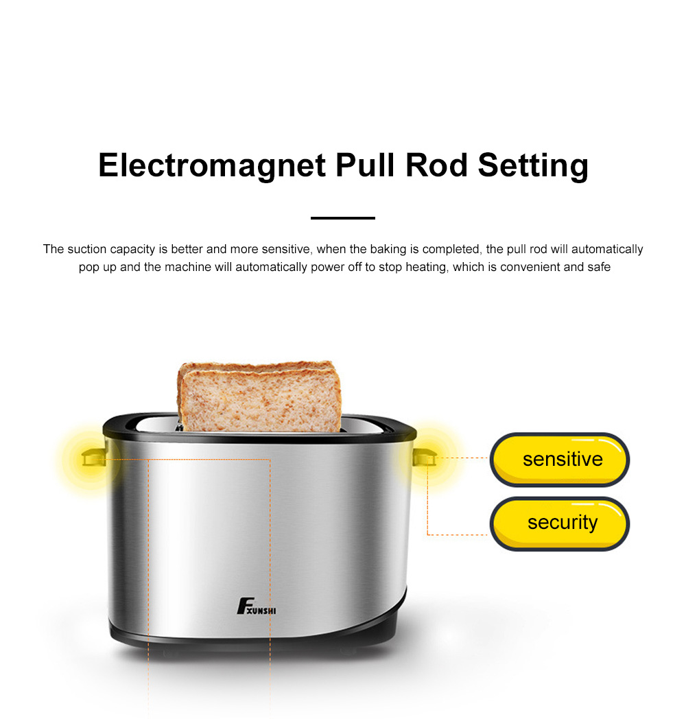 Fxunshi 800W Power Home Appliance Stainless Steel Auto Switch Off 2 Slices 2 Slot Portable Automatic Bread Maker Toaster 5