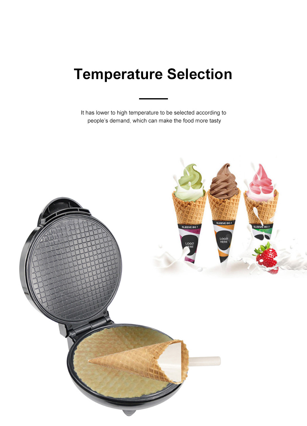 European-style Cone Crispy Egg Roll Machine Multifunctional Professional Round Ice Cream Waffle Cone Maker 3