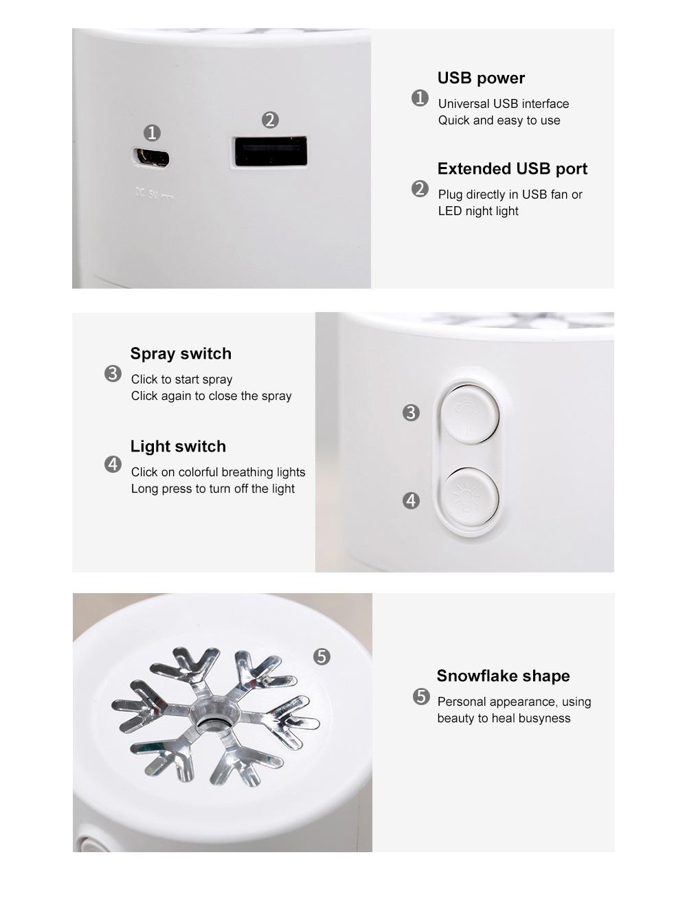 Mini Air Humidifier For Home Office Car LED Night Light Portable Snowflake Purifier Freshener Travel Mist USB Fan Humidifier 8