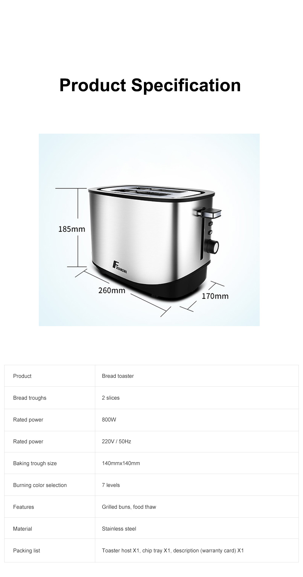 Fxunshi 800W Power Home Appliance Stainless Steel Auto Switch Off 2 Slices 2 Slot Portable Automatic Bread Maker Toaster 10