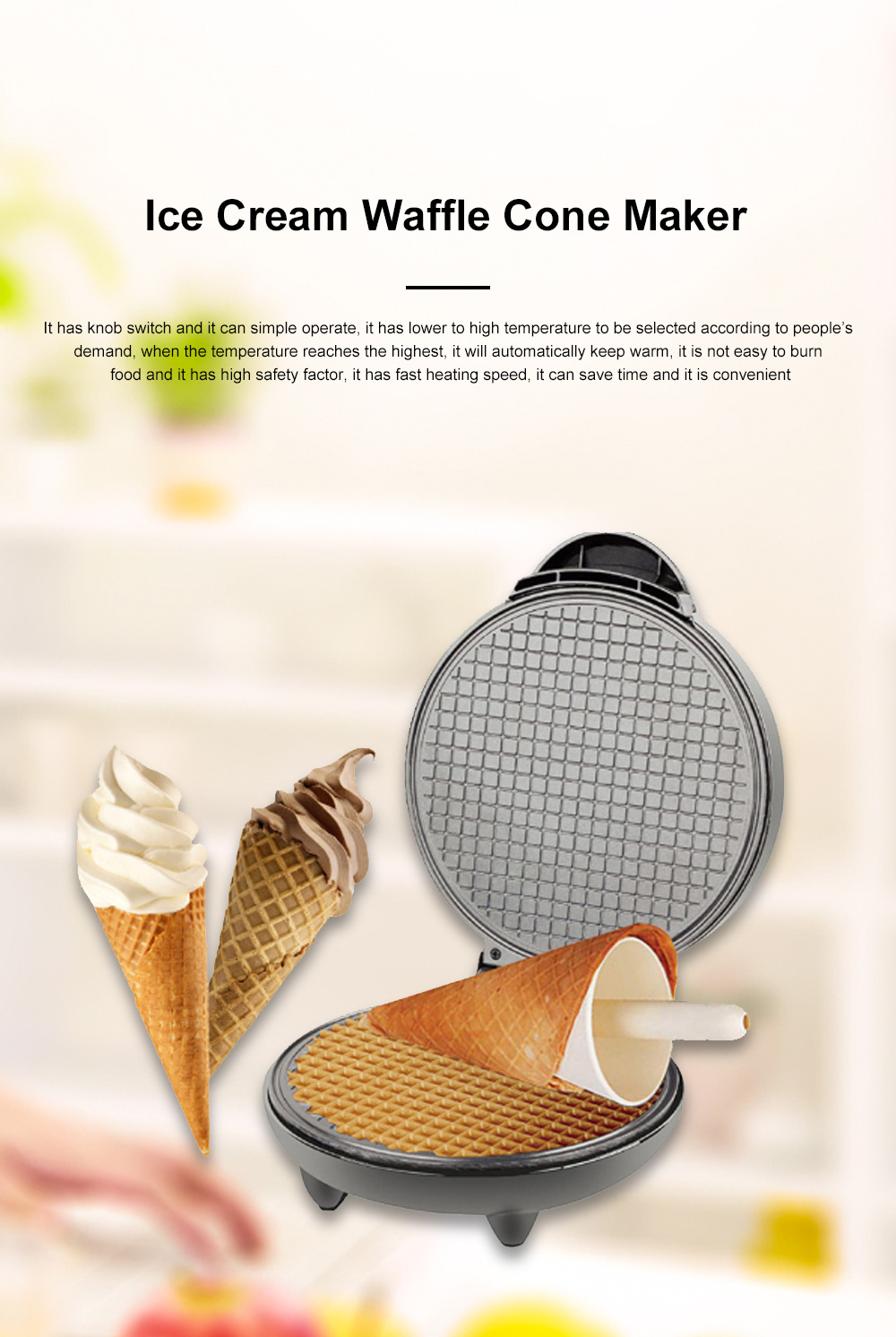 European-style Cone Crispy Egg Roll Machine Multifunctional Professional Round Ice Cream Waffle Cone Maker 0