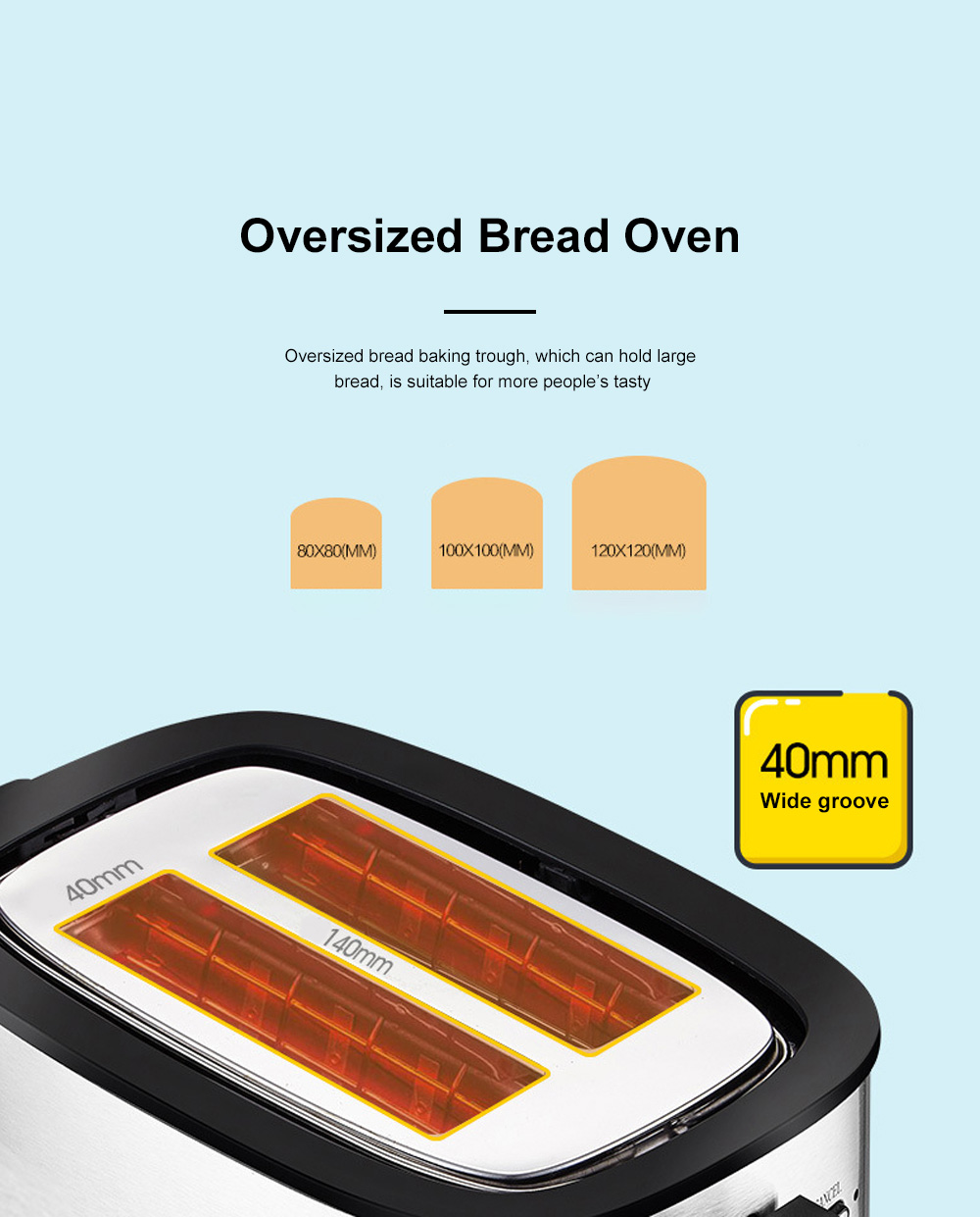 Fxunshi 800W Power Home Appliance Stainless Steel Auto Switch Off 2 Slices 2 Slot Portable Automatic Bread Maker Toaster 2