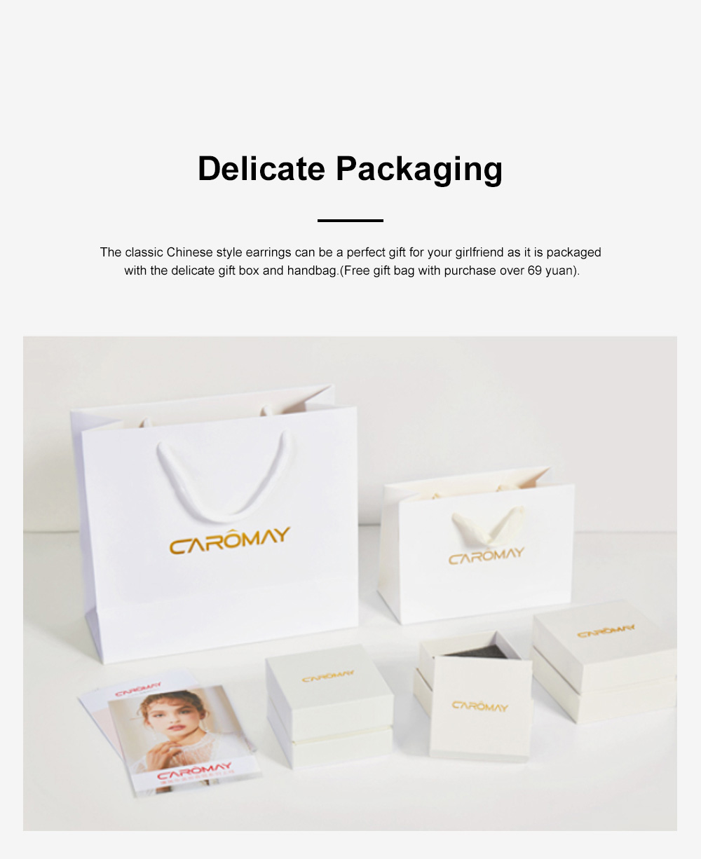 Chinese Style Dangle Earrings Asymmetric Personality Crystal Earrings Bride Groom Earrings Studs 5