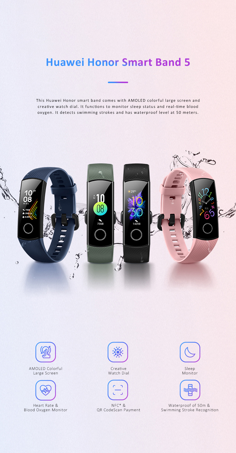 Huawei Honor Smart Band 5 Sports Mobile Blood Oxygen Monitoring Wristband Colorful Screen Bracelet 0