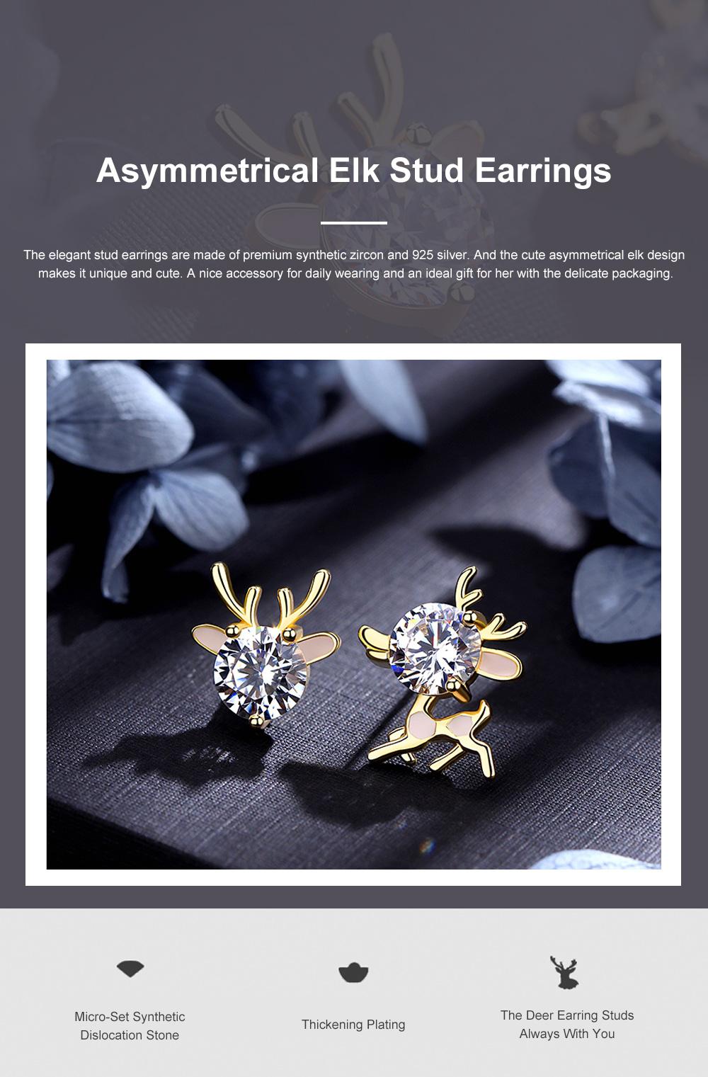 Cute Reindeer Earrings Studs for Women Asymmetrical Elk Stud Earrings Delicate 925 Silver Jewelry Earring Girls Gift 0