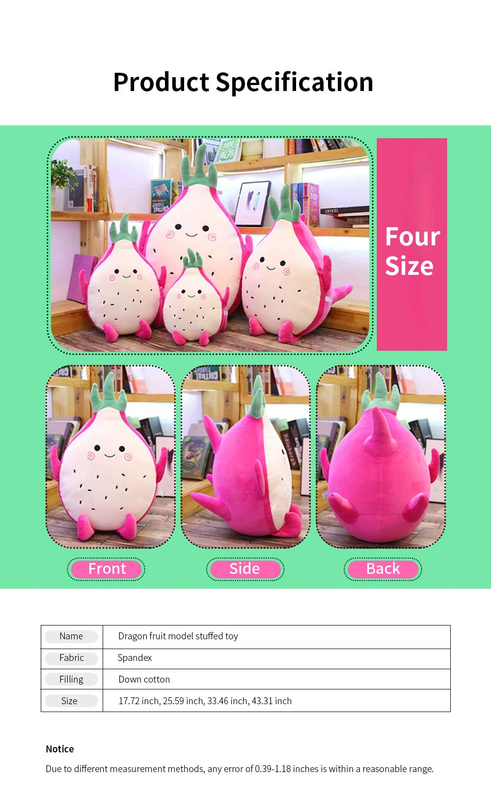 Cute Creative Imitation Cartoon Dragon Fruit Pitaya Stuffed Toy Plush Doll Bolster Cushion Children New Year Gift 7