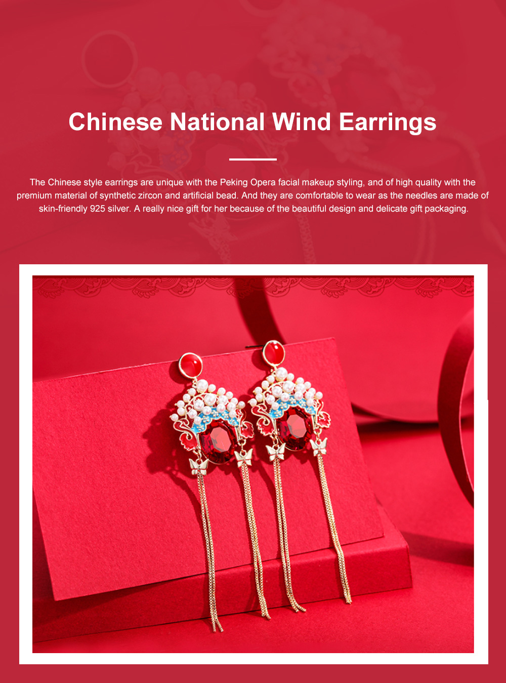 CAROMAY Chinese National Wind Earrings Vintage Long Tassel Earrings Dangle Earring Jewelry with Peking Opera Facial Makeup Element 0