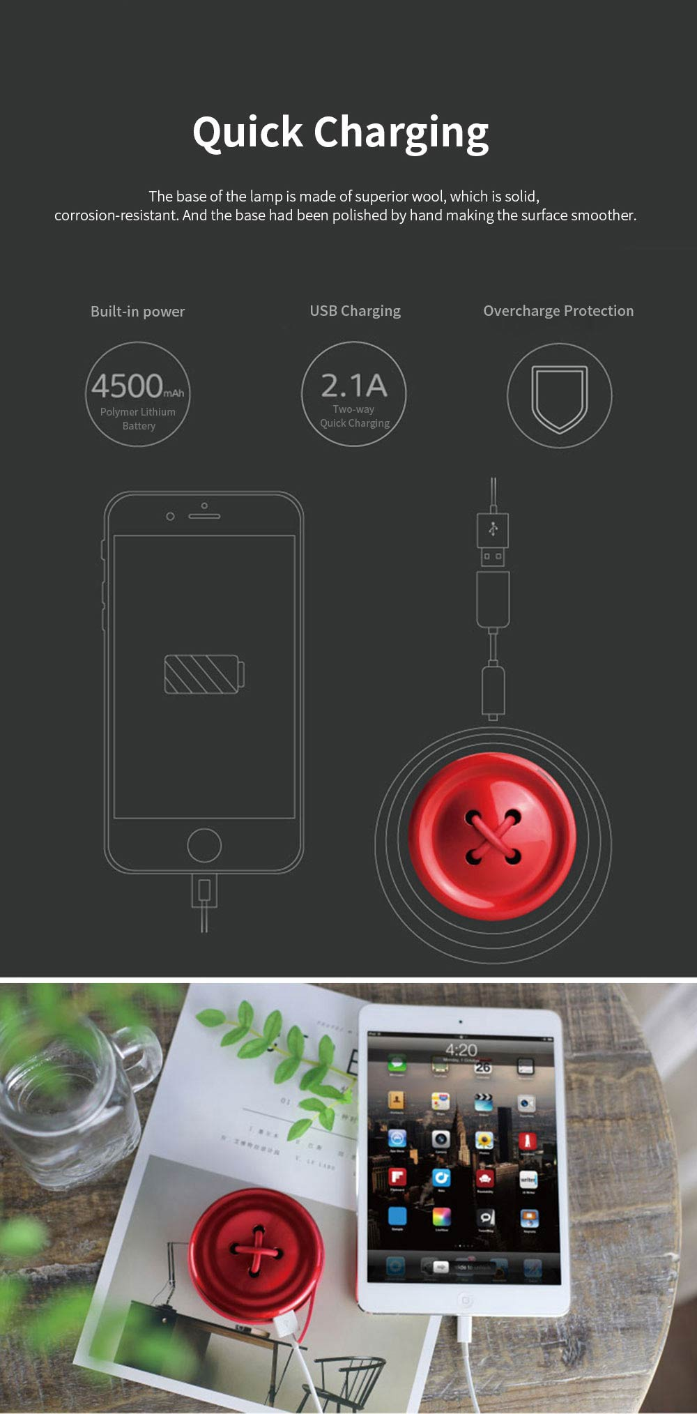 Portable Creative Cute Button Model Electronic Hand Warmer Power Bank Intelligent Temperature Control Quick Heating 6