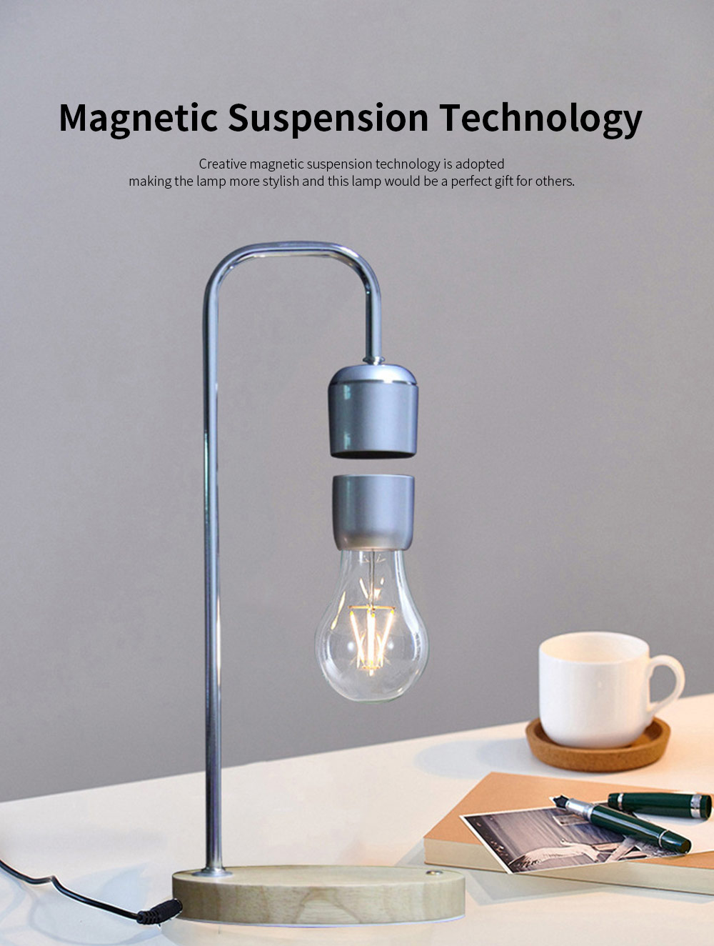Creative Stylish Energy-conservation Mute Magnetic Suspension Light Table Lamp with Inductive Switch Anti-skid Base 1