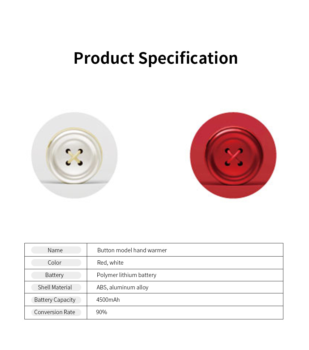 Portable Creative Cute Button Model Electronic Hand Warmer Power Bank Intelligent Temperature Control Quick Heating 7