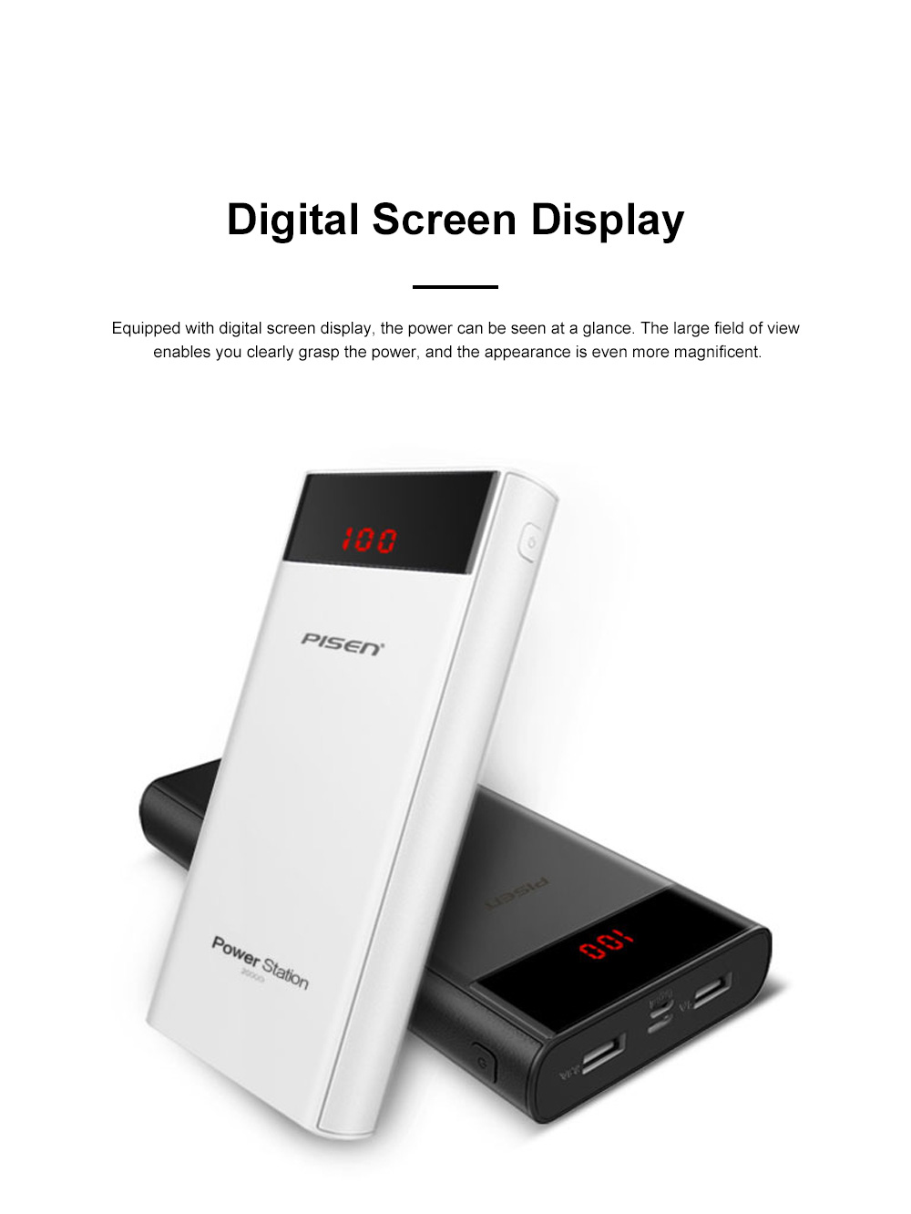 Pisen 20000mAh Large Capacity Power Bank Portable Dual USB Port Mobile Power Supply Station with Digital Screen Display 4