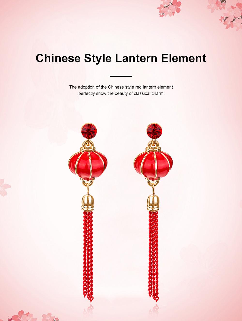 Chinese Lantern Dangle Earring Love Lucky Lantern Drop Earrings Dangle Vintage Ear Jewelry for Women Girls 3