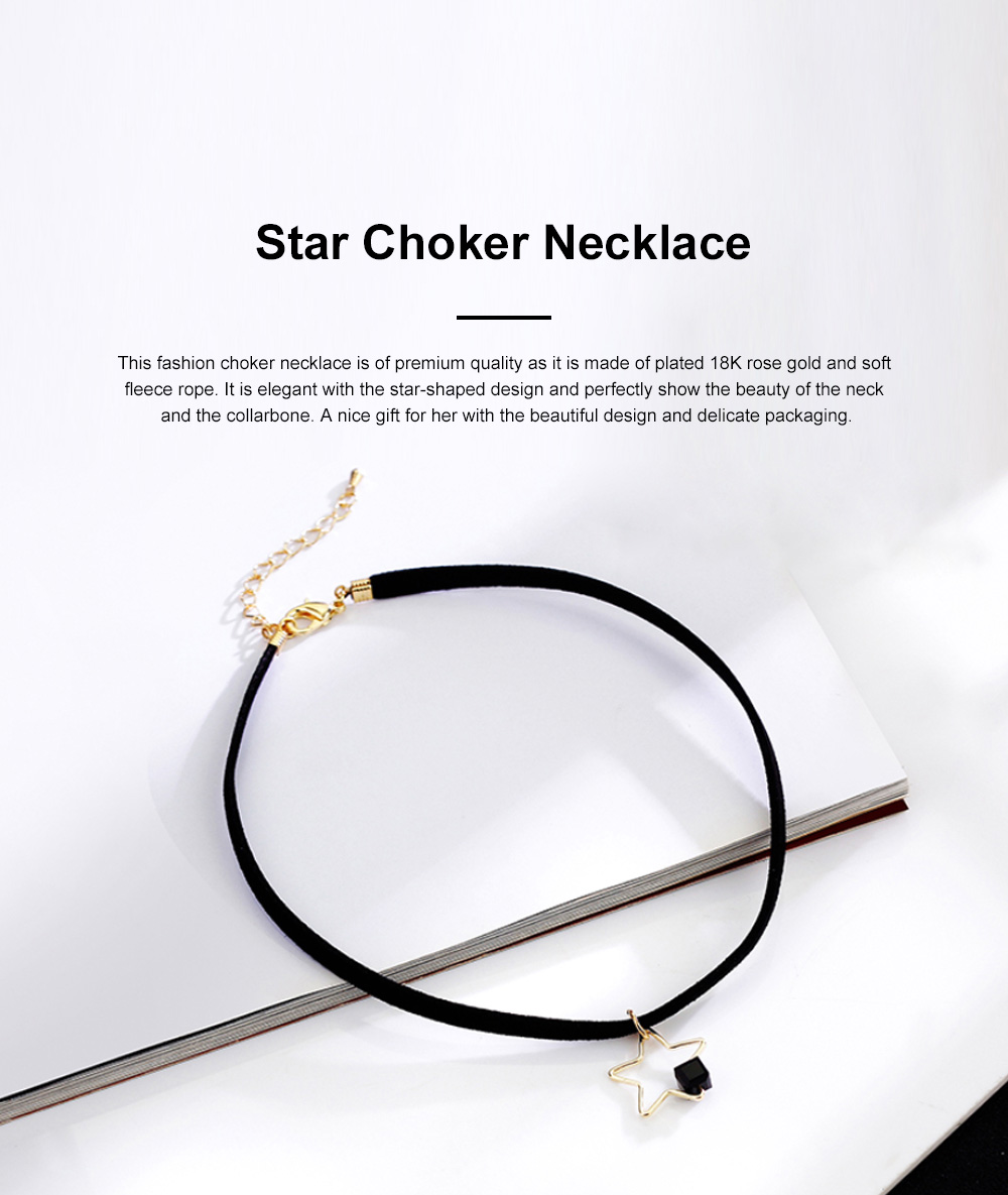 Fashion Star Choker Necklace Short Necklaces Bracelet Plated Rose Gold Neck Jewelry for Women Girls 0