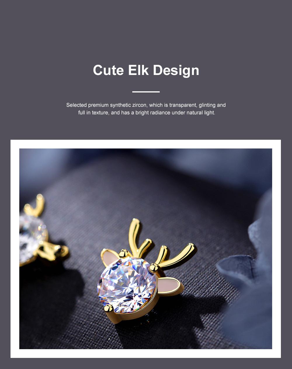 Cute Reindeer Earrings Studs for Women Asymmetrical Elk Stud Earrings Delicate 925 Silver Jewelry Earring Girls Gift 4