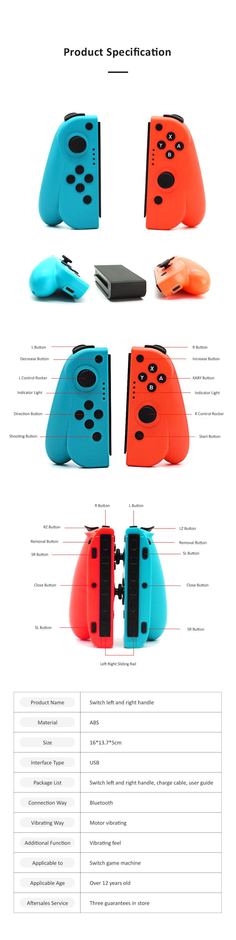 Left and Right Bluetooth Game Handle for Switch Game Machine Separated Repeating Vibrating Game Controller Wireless Joy-con Screen Shot Handles 9
