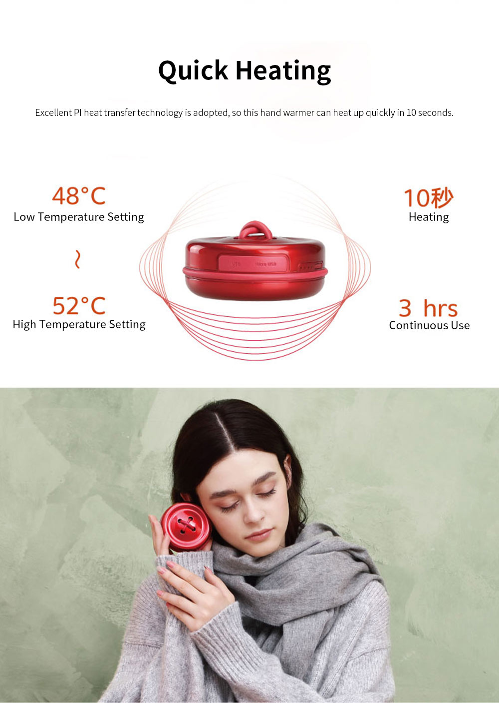 Portable Creative Cute Button Model Electronic Hand Warmer Power Bank Intelligent Temperature Control Quick Heating 3