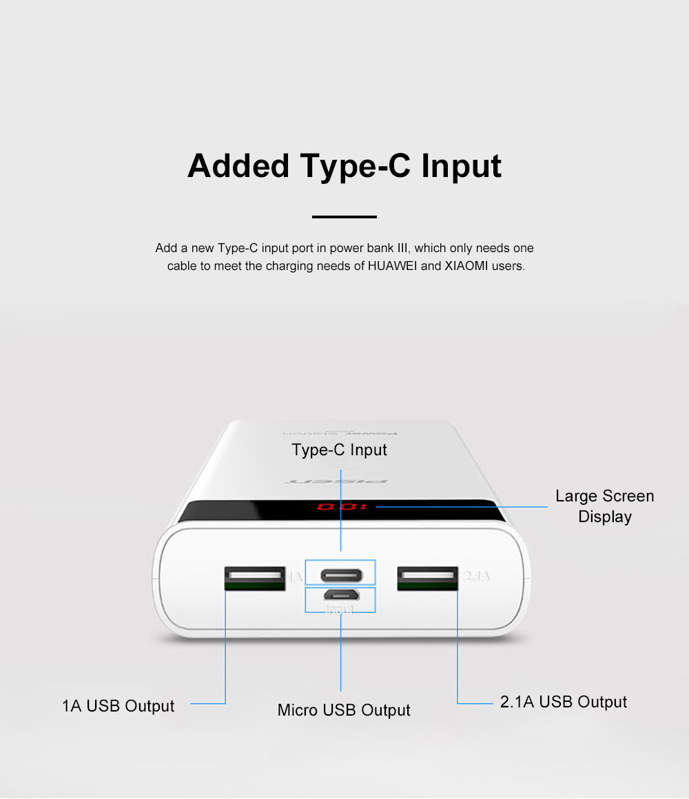 Pisen 20000mAh Large Capacity Power Bank Portable Dual USB Port Mobile Power Supply Station with Digital Screen Display 3