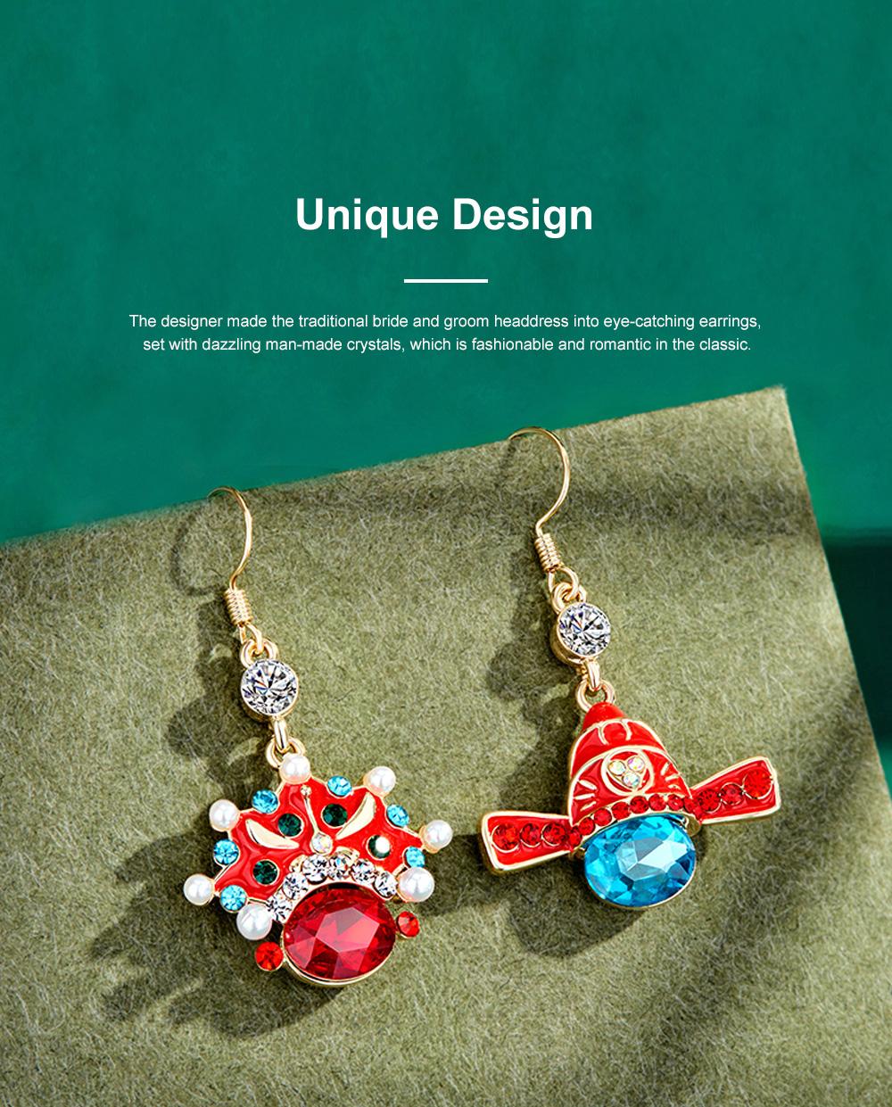 Chinese Style Dangle Earrings Asymmetric Personality Crystal Earrings Bride Groom Earrings Studs 4