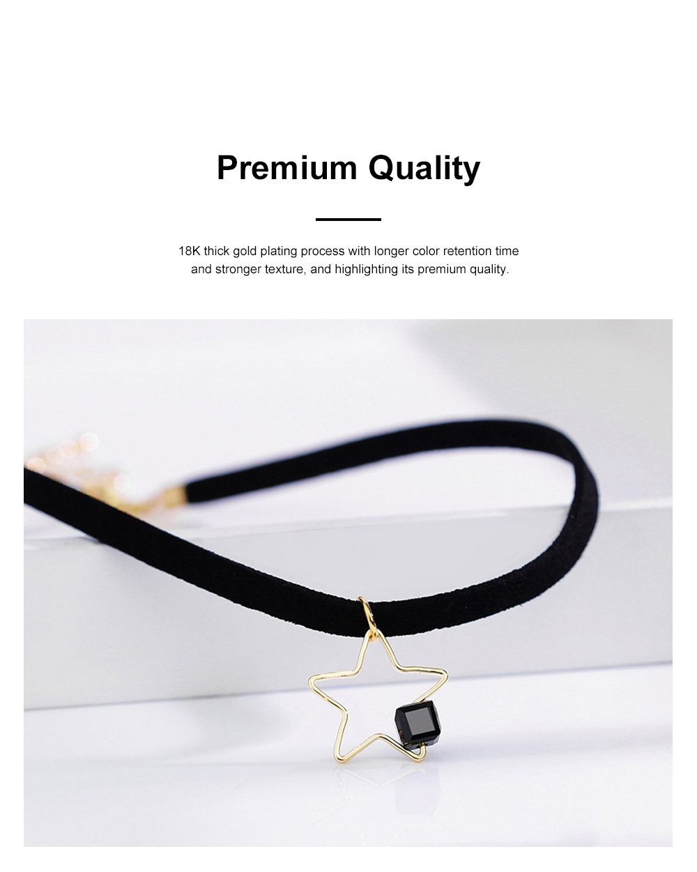 Fashion Star Choker Necklace Short Necklaces Bracelet Plated Rose Gold Neck Jewelry for Women Girls 1