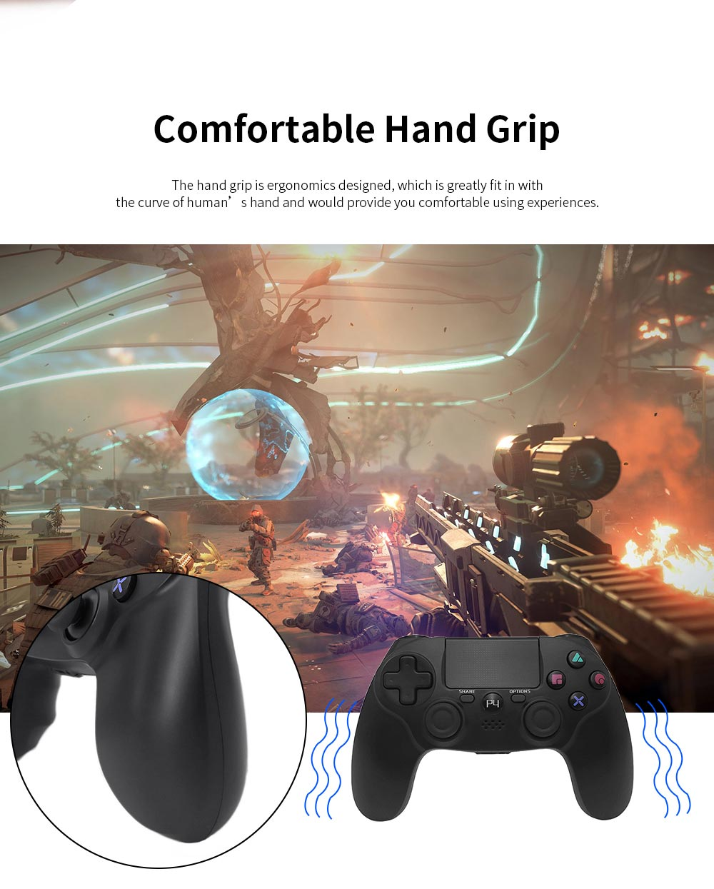 Easy Operation Long Endurance Multifunctional Ergonomics Designed Bluetooth Wireless PS4 Gamepad Games Console 1