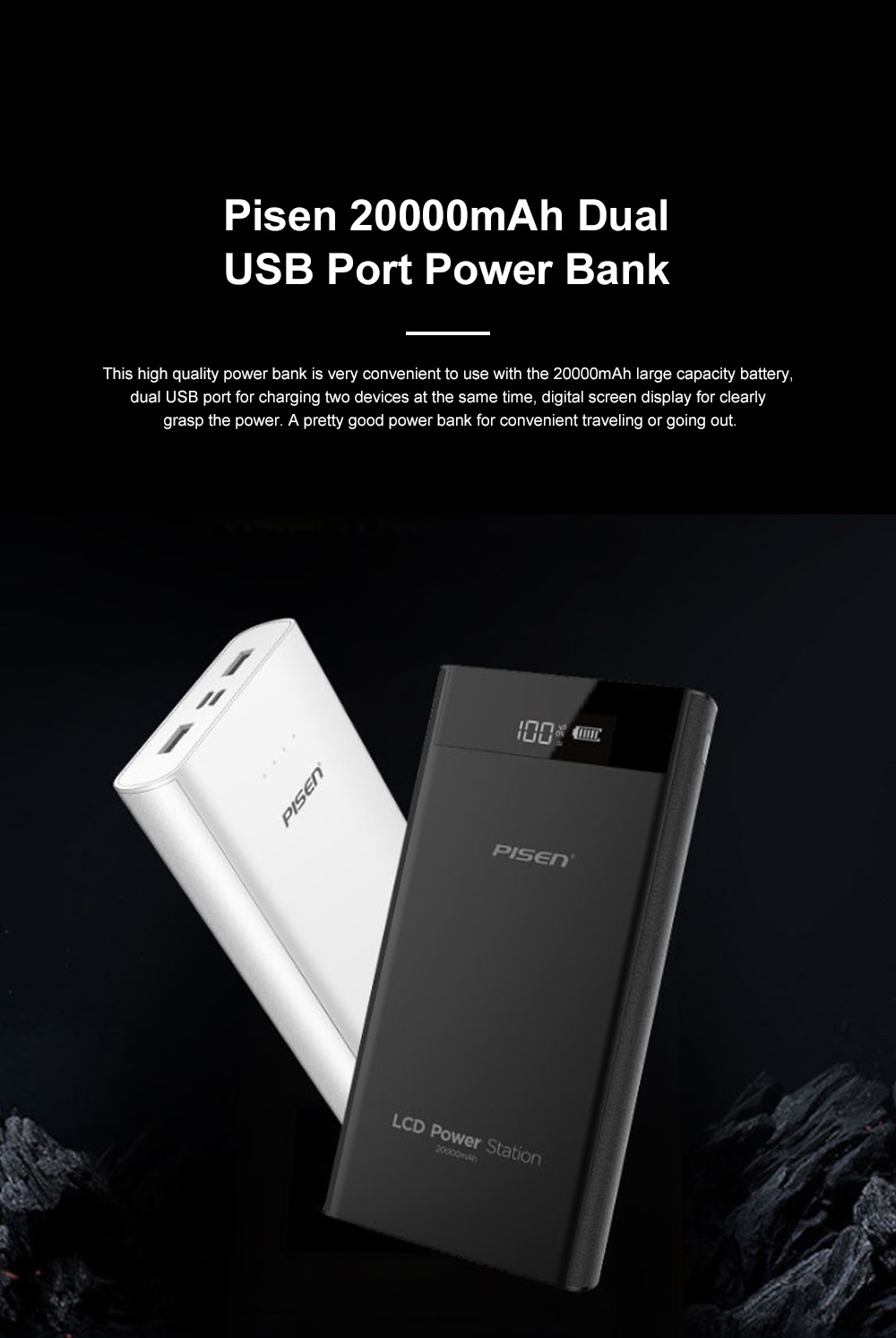 Pisen 20000mAh Large Capacity Power Bank Portable Dual USB Port Mobile Power Supply Station with Digital Screen Display 0