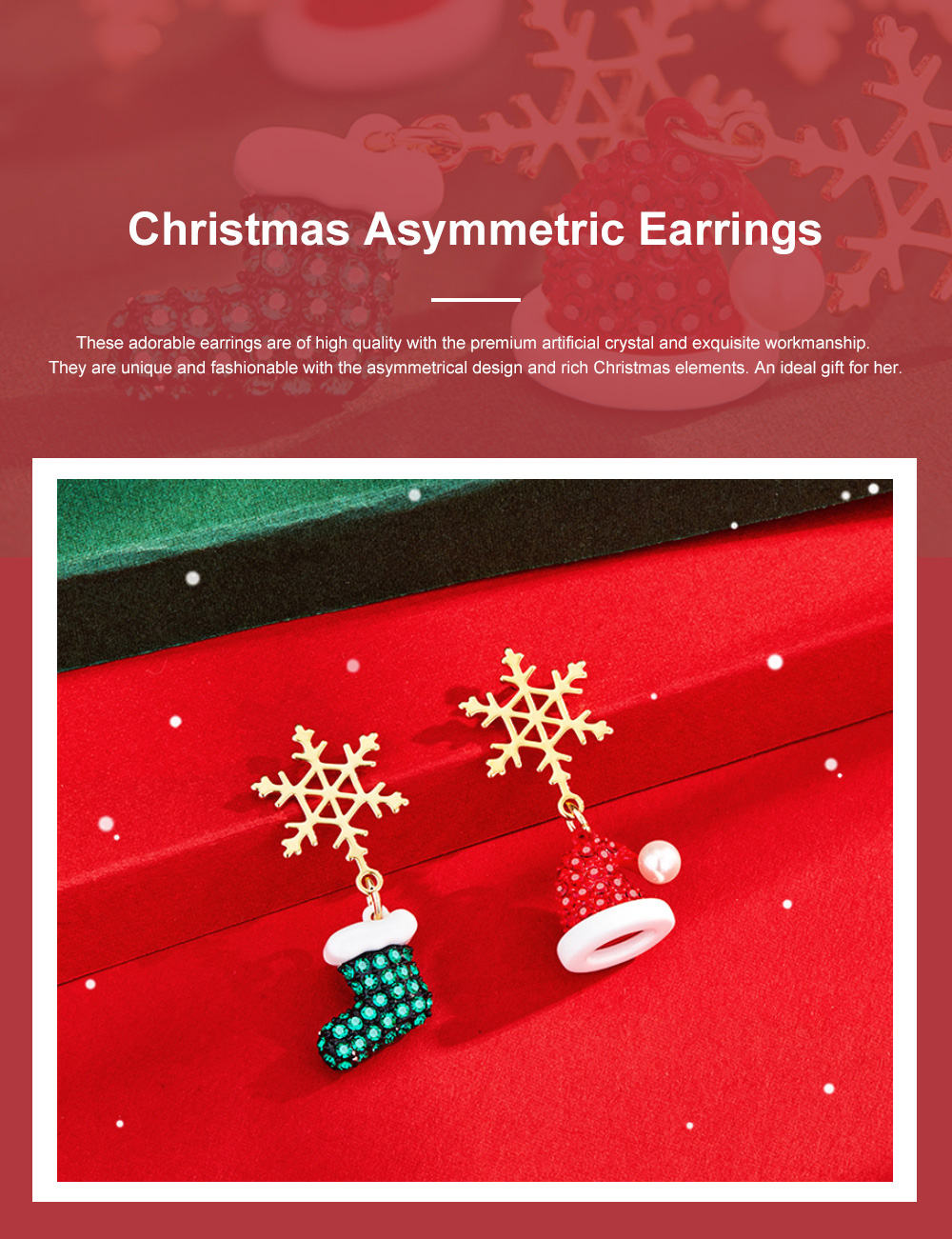 Christmas Snowflake Earrings for Women Unique Asymmetric Earrings Studs Party Jewelry for Christmas New Year Gift Giving 0